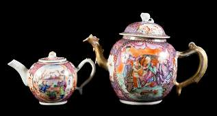 Two Chinese Export Mandarin palette teapots