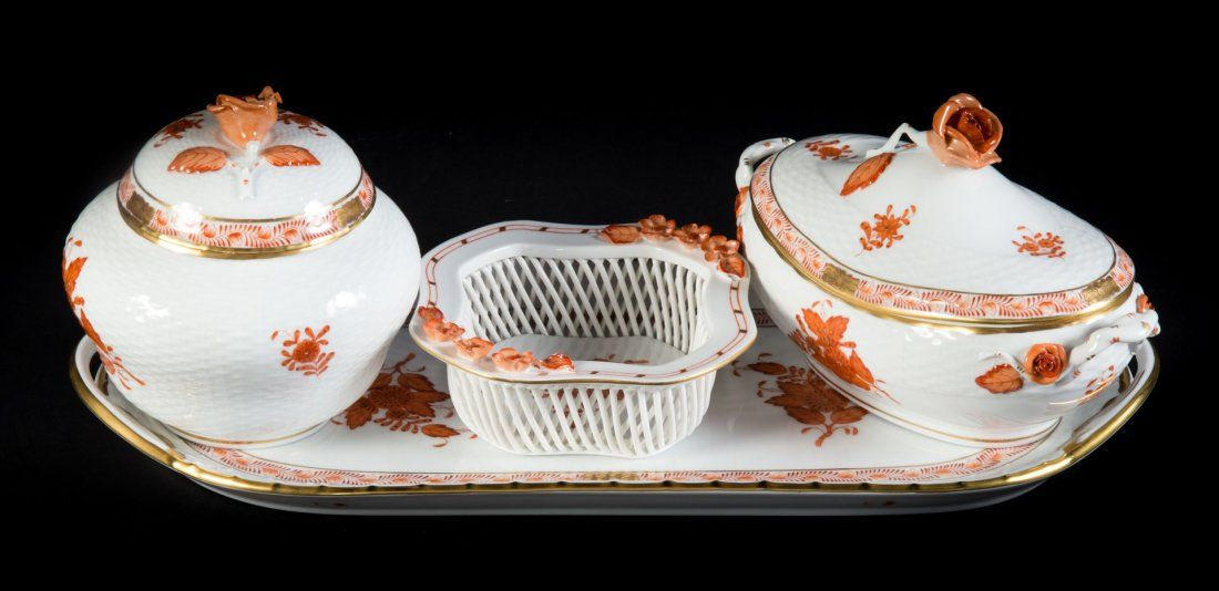 Four Herend porcelain table articles