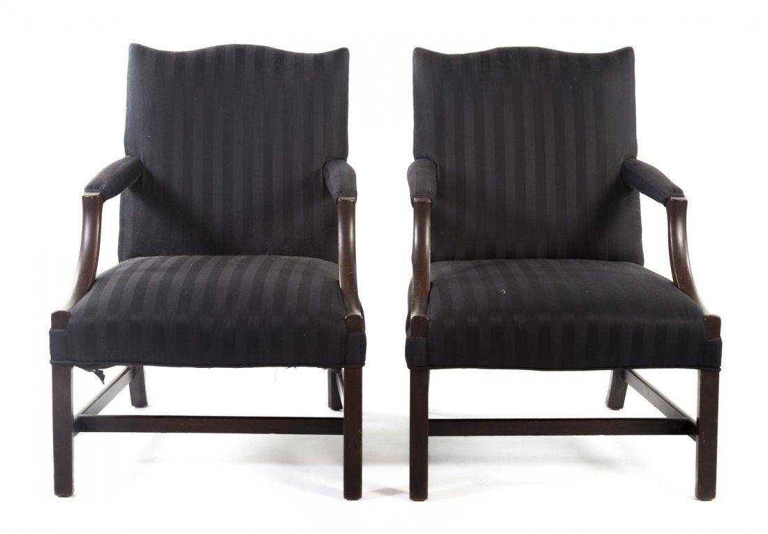Pr. George III style mahogany Gainsborough chairs