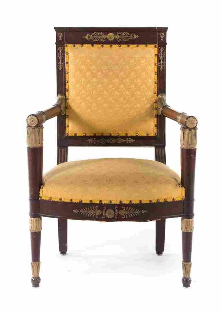 Empire style bronze mounted mahogany armchair