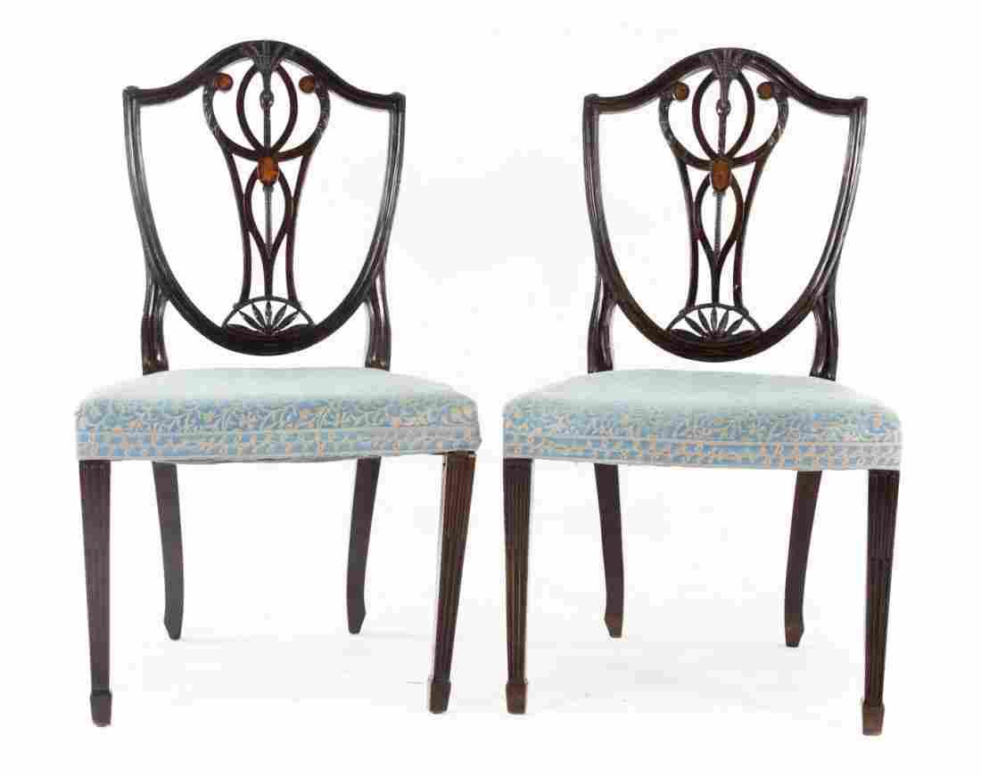 Pr. of George III mahogany shield back side chairs