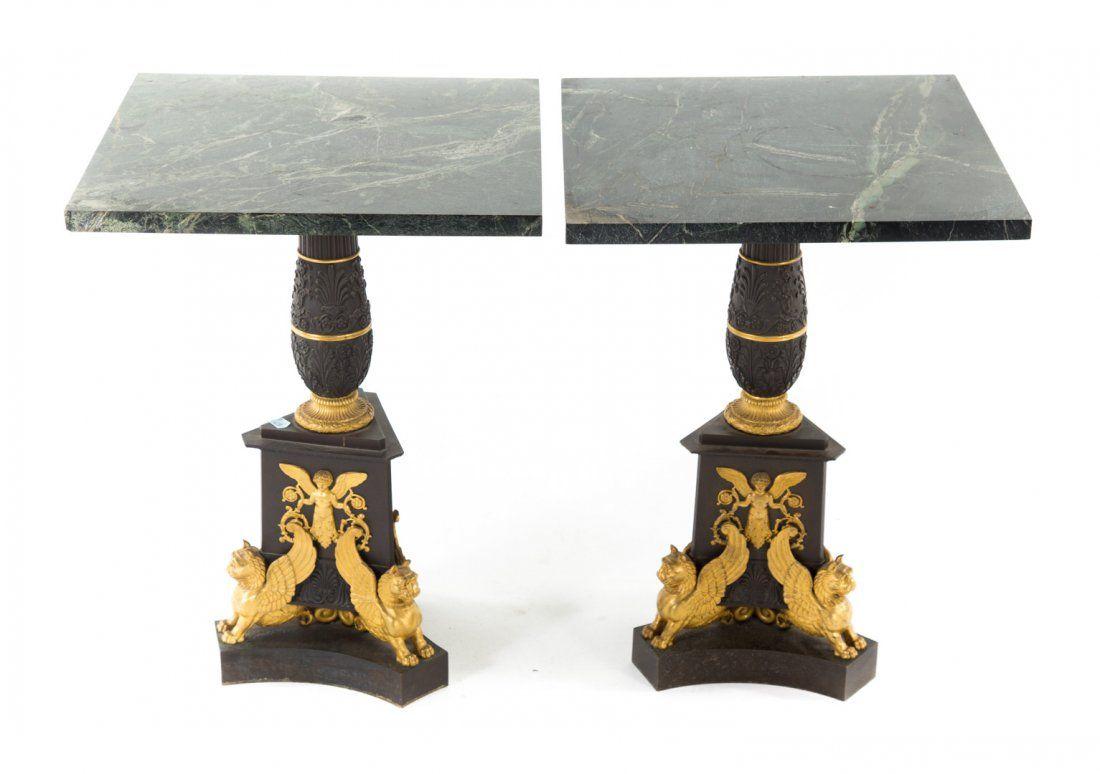 Pr Regency style ormolu mounted bronze side tables