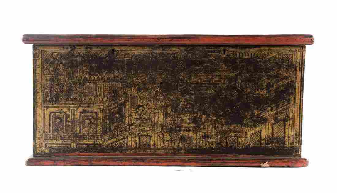 Chinese painted gilt wood trunk
