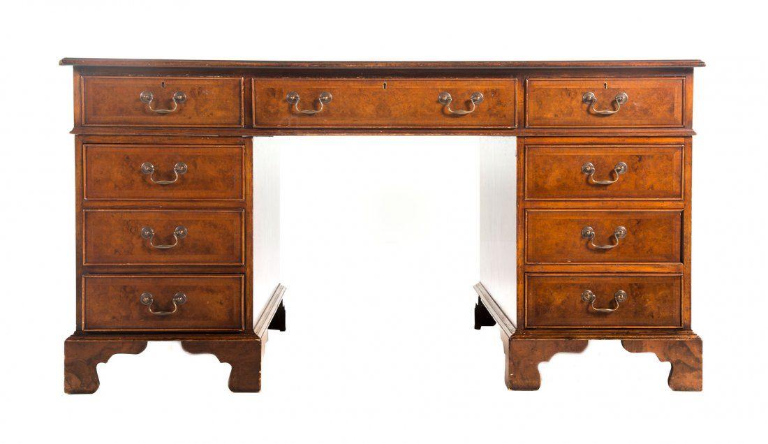 George III style walnut double pedestal desk