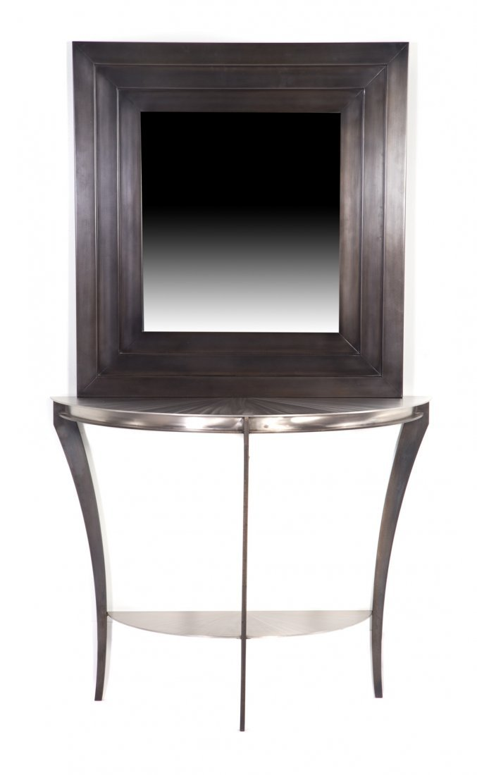 Contemporary demilune metal console table