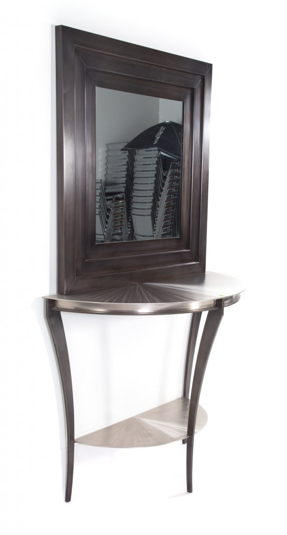 Contemporary demilune metal console table - 2