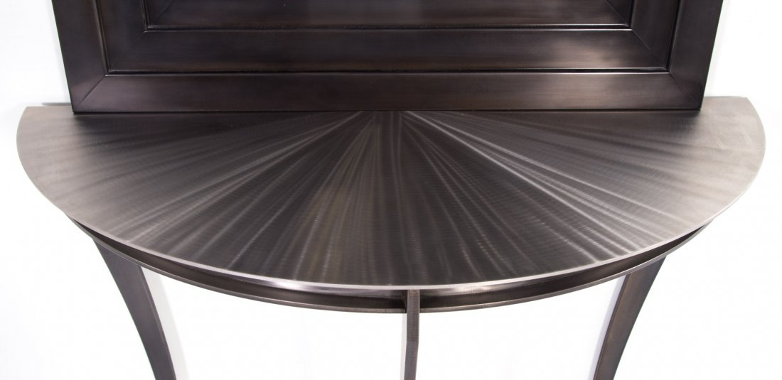 Contemporary demilune metal console table - 3