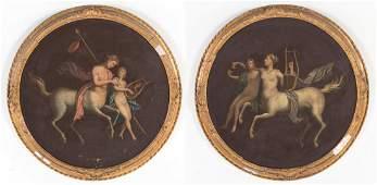 Pair of 19th c. Mythological Tondi, oil on canvas
