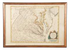 18th c de Vaugondy Map of Virginia and Maryland