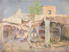Alphons Leopold Mielich. Marketplace, oil on board