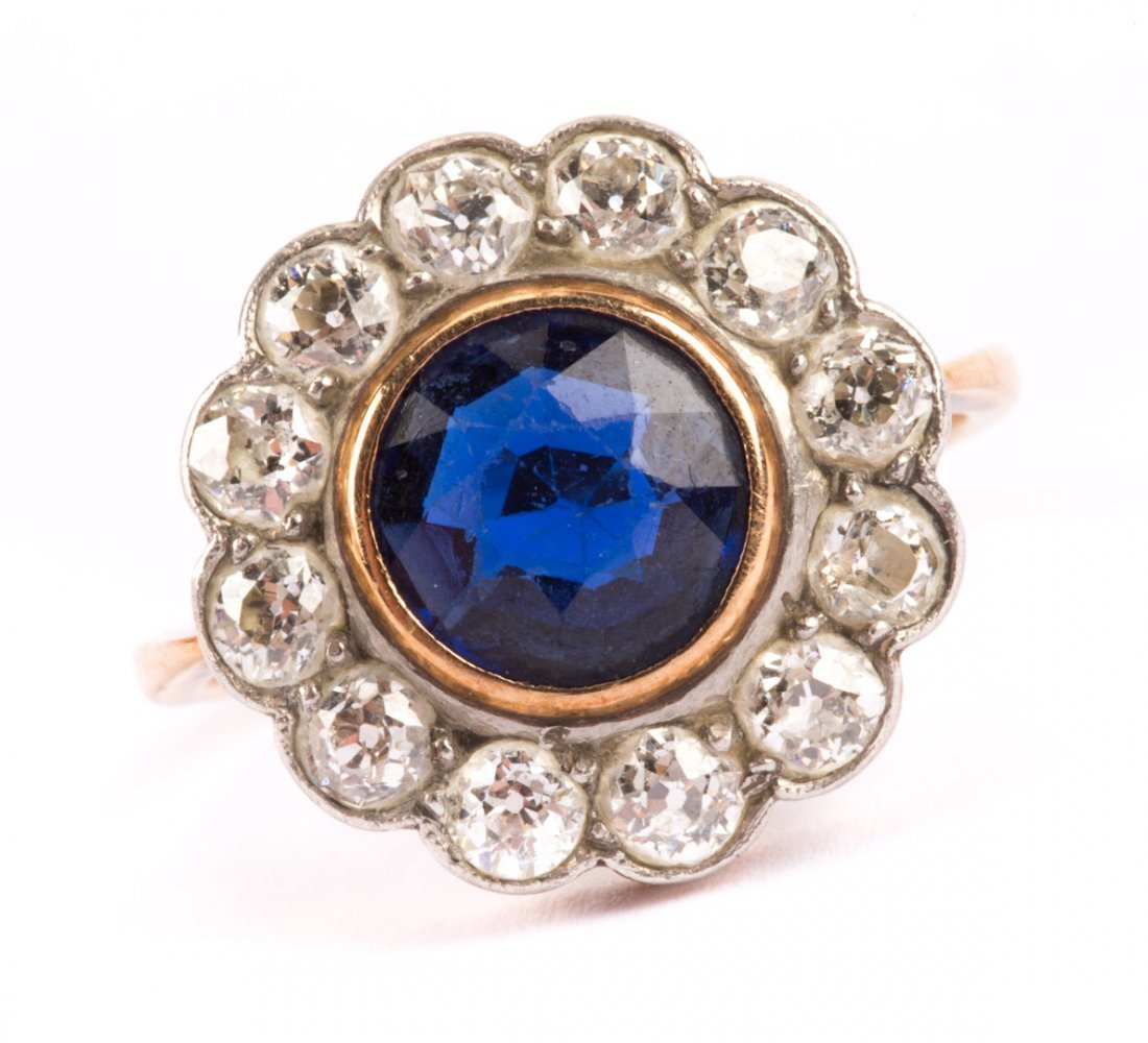A Lady's Sapphire and Diamond Ring