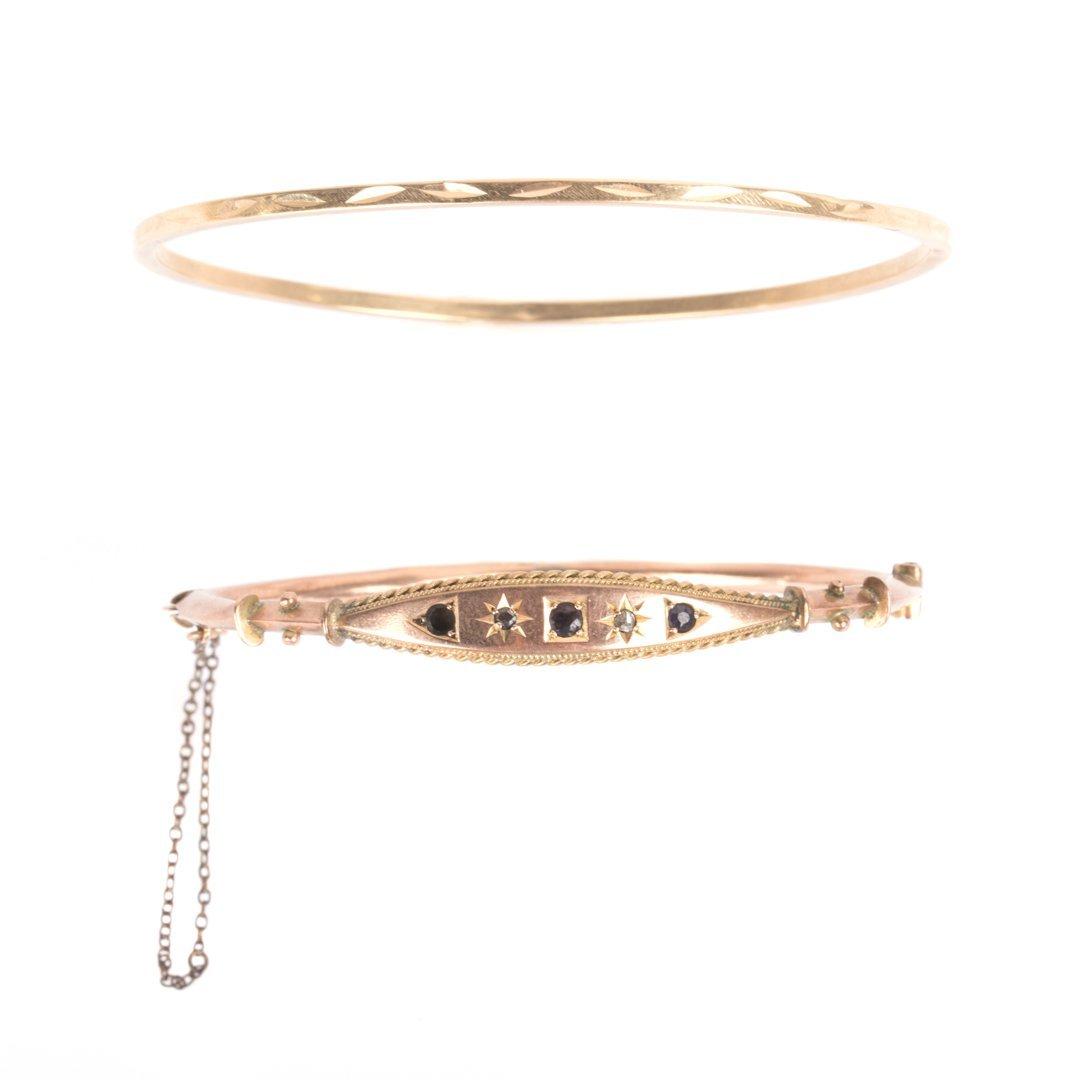 Two Lady's Gold Bangle Bracelets