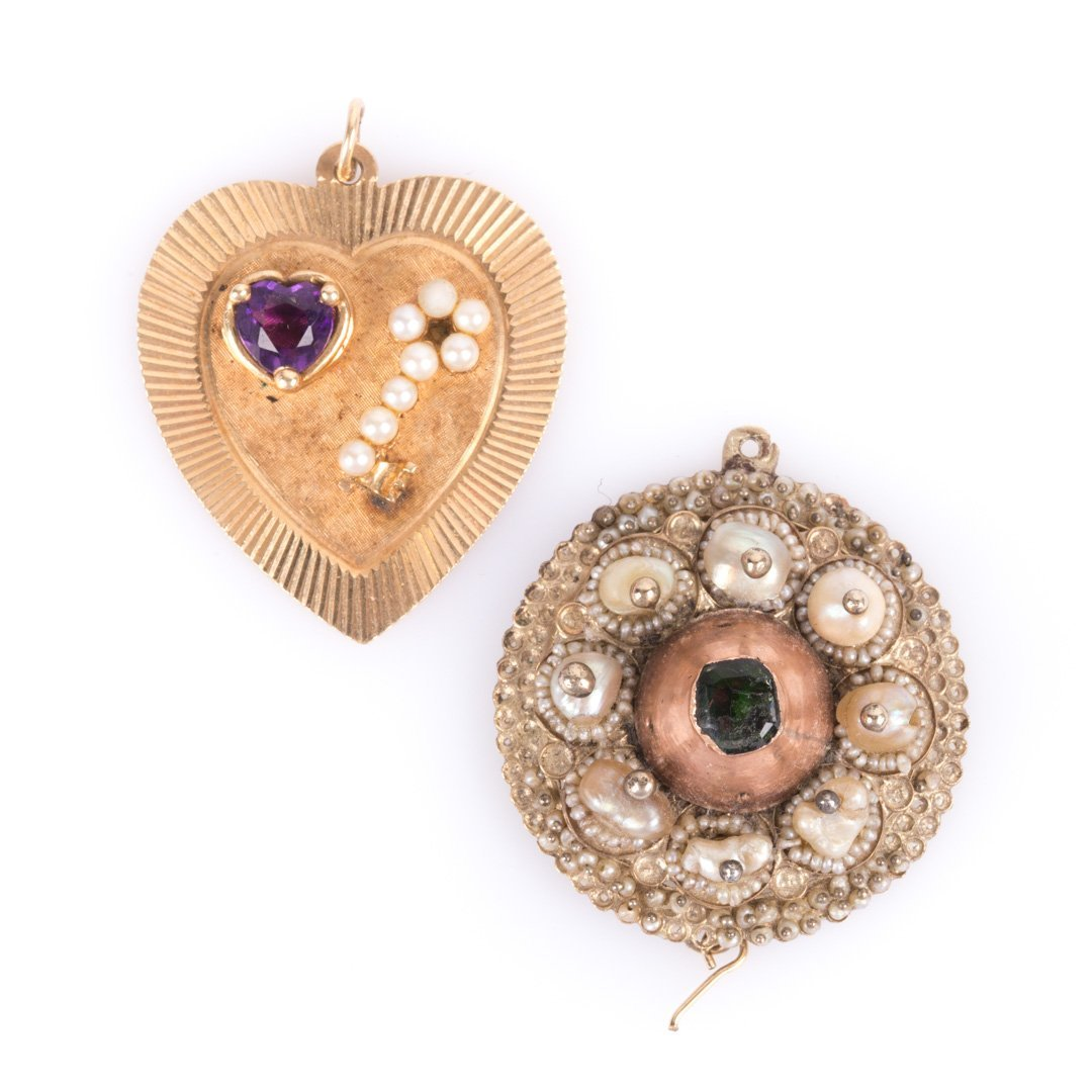 Two Large Charms, Featuring a 14K Gold Heart