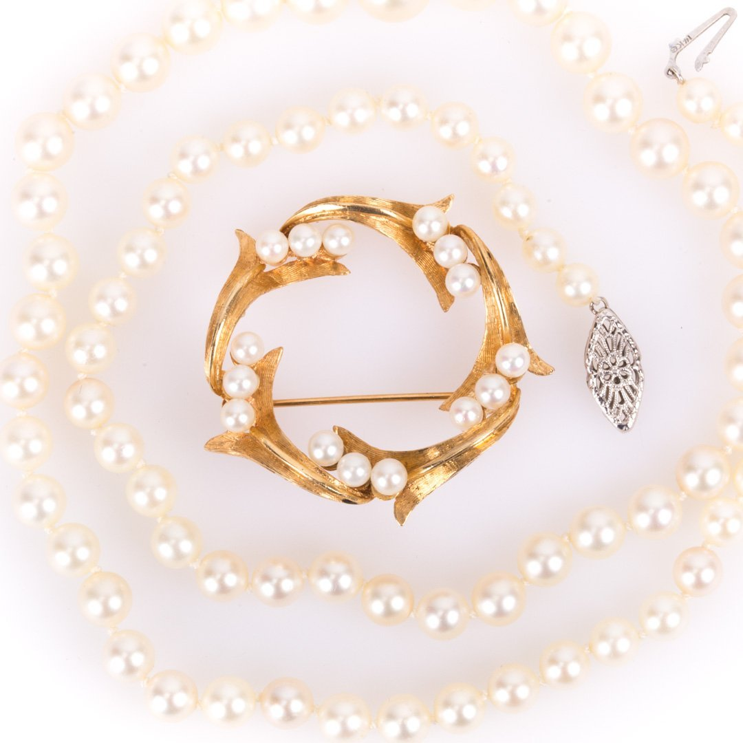A 14K Gold Pearl Brooch & Cultured Pearl Necklace