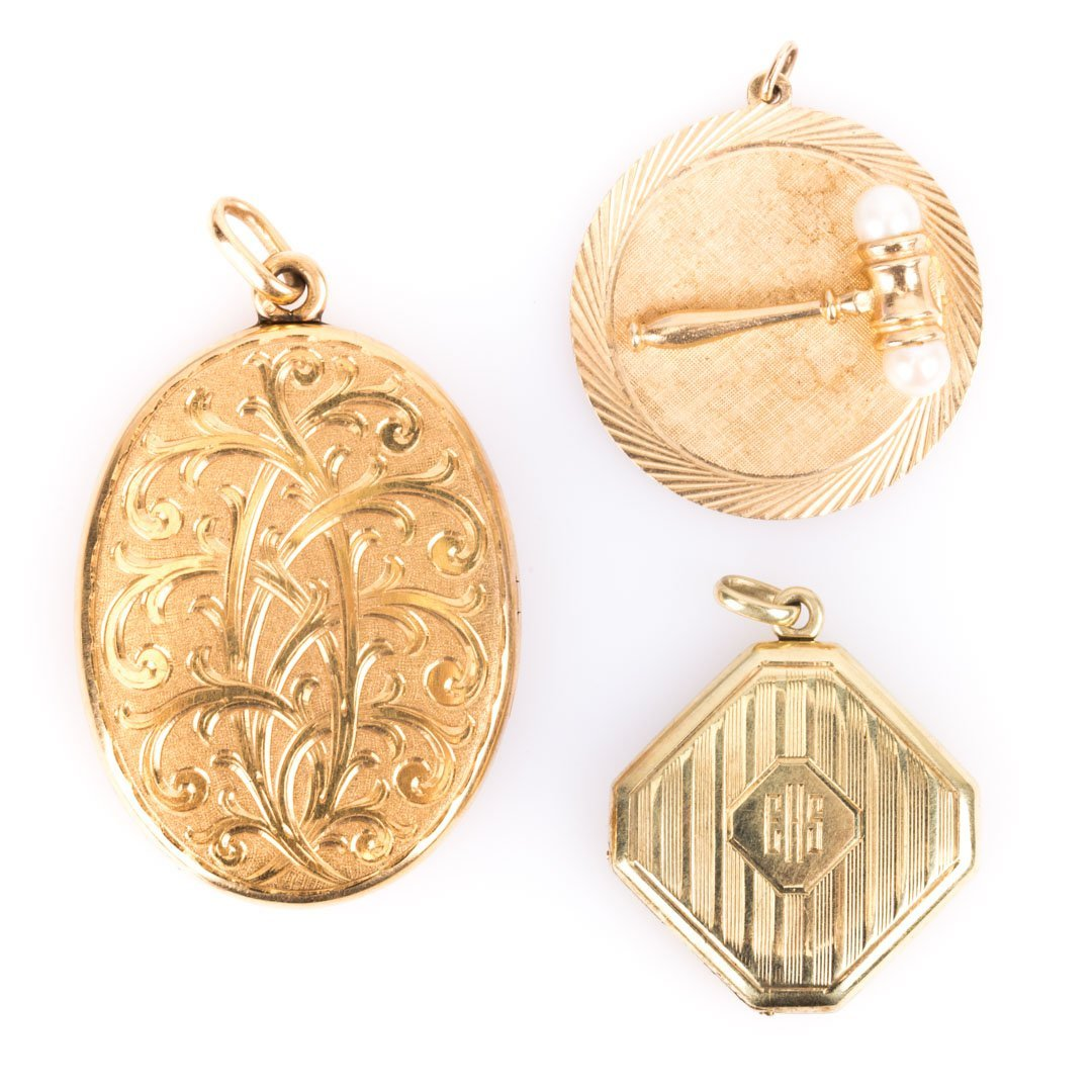 Two 14K Gold Lockets and 14K Charm