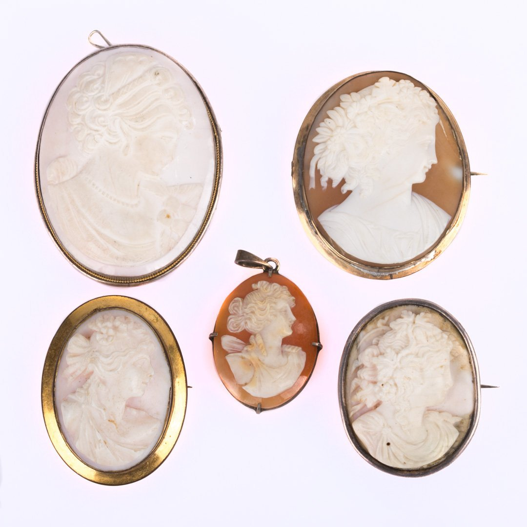 An Assortment of Hand Carved Cameo Brooches
