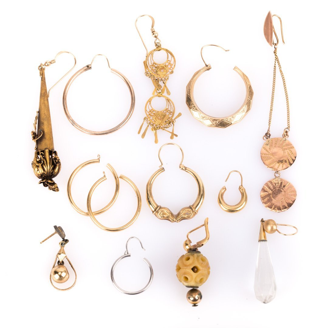 A Collection of Half Earrings in Gold
