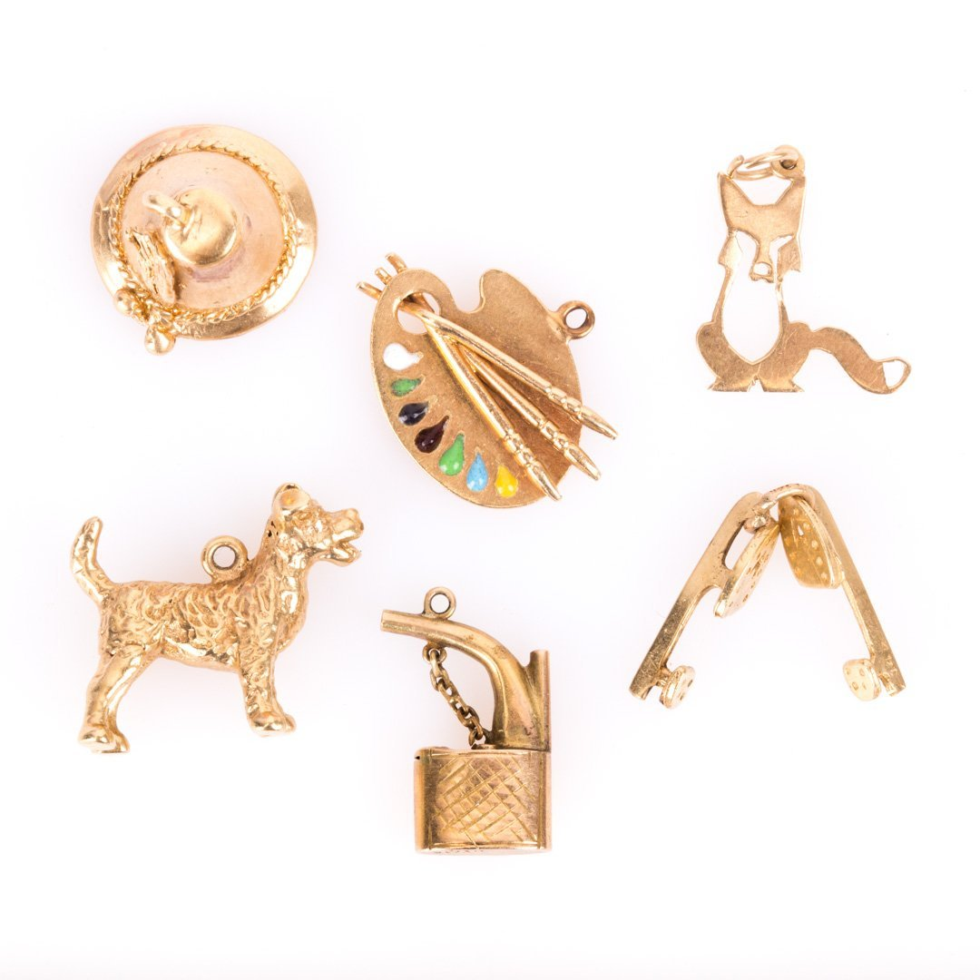 Six Charms in 14K Yellow Gold