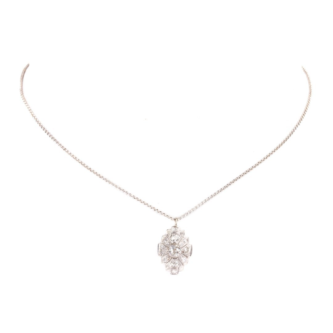 A Lady's Vintage Diamond Pendant in 14K White Gold