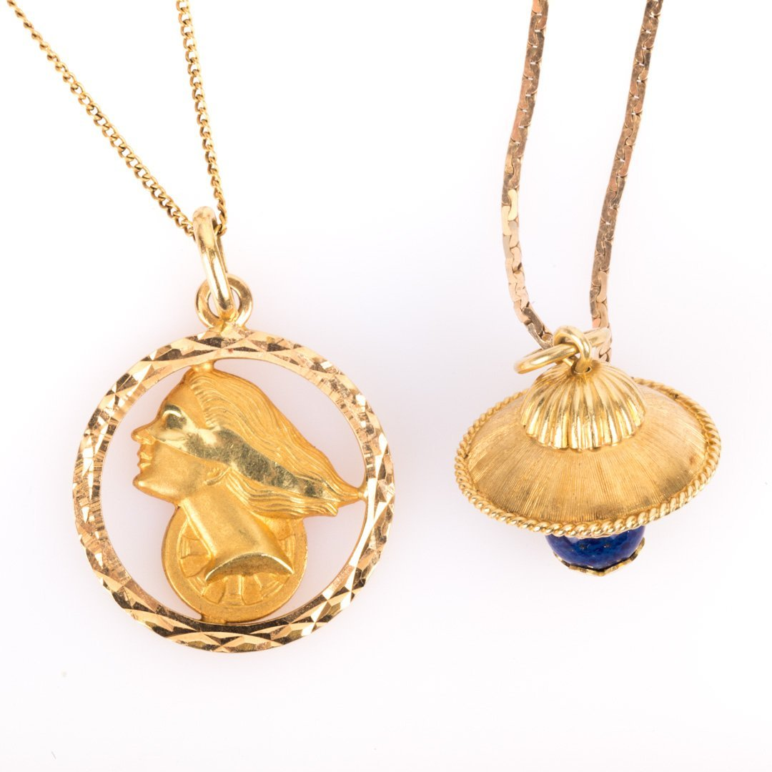 Two Lady's Necklaces in 18K and 14K Gold