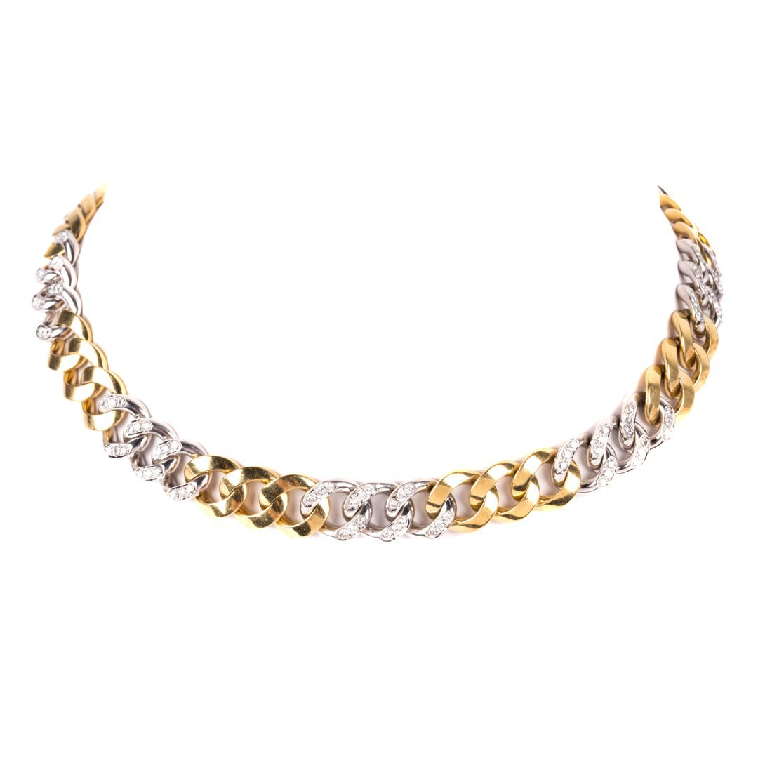 A Lady's18K Solid Gold Diamond Necklace by Bulgari