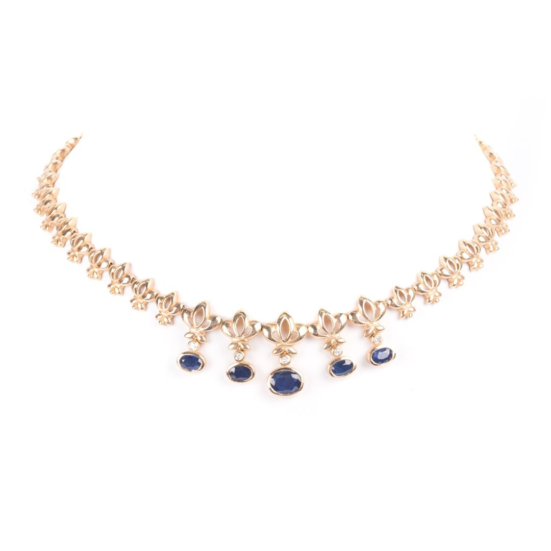 A Lady's Sapphire and Diamond Necklace in 14K Gold