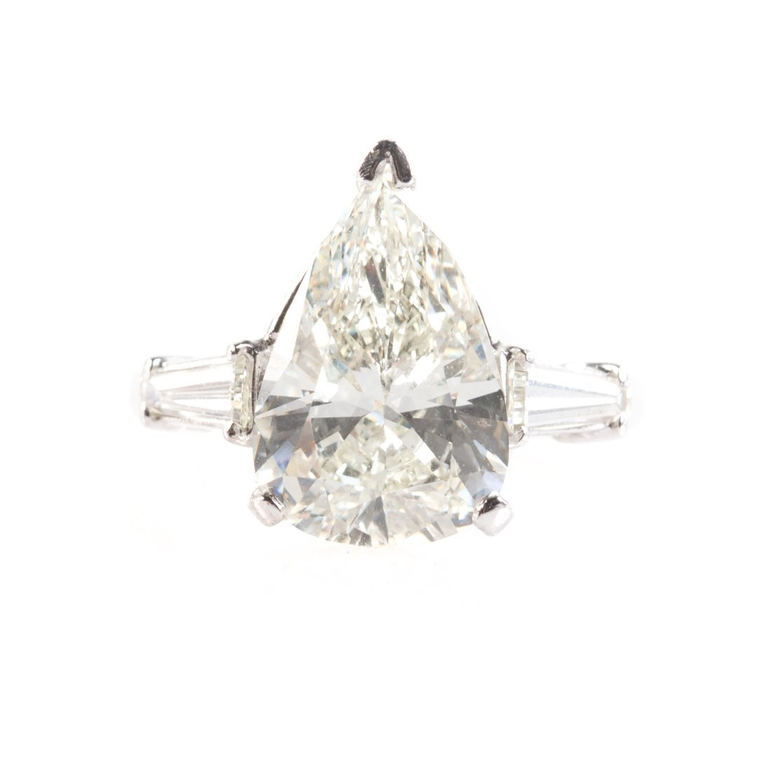 A Lady's 4.39 ct. Pear Shaped Diamond Ring