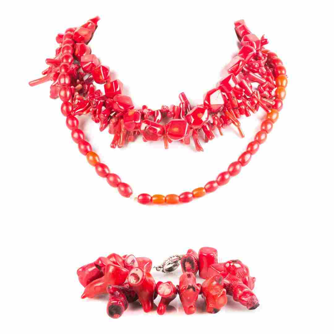 A Collection of Coral Beads and Necklaces