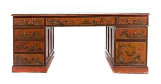 George III style chinoiserie partners desk
