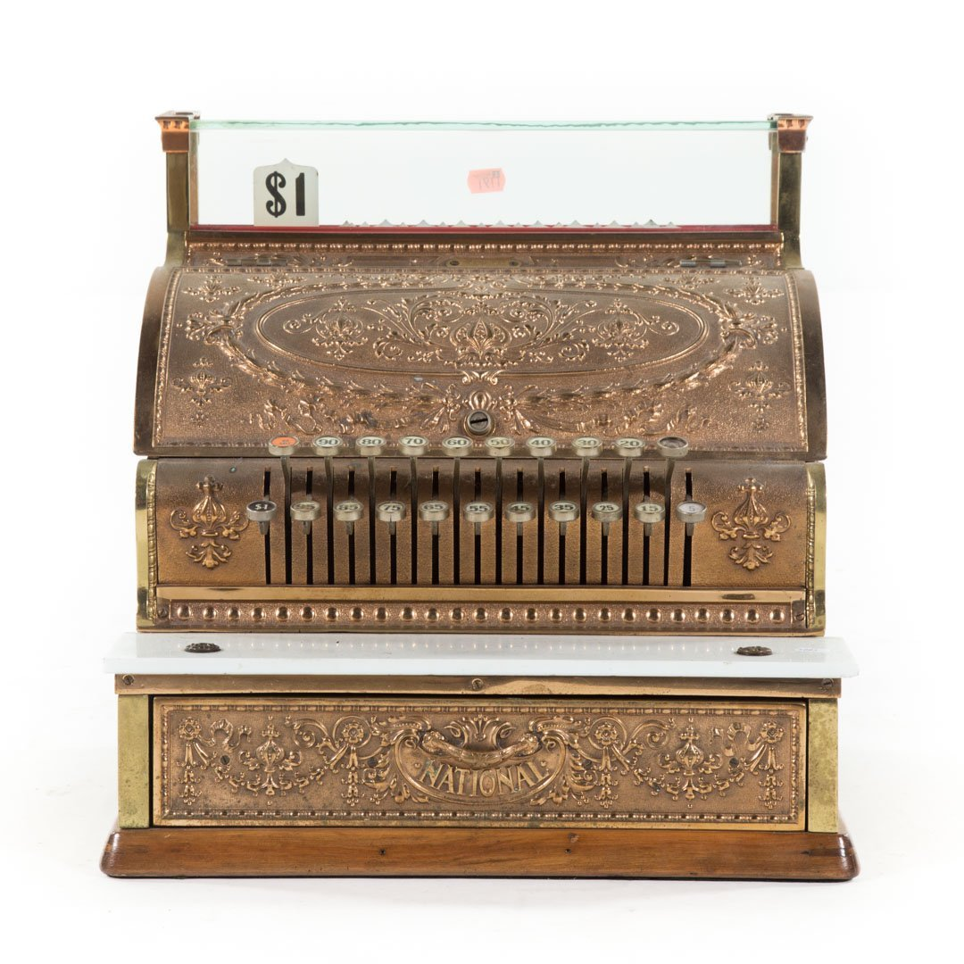 National brass wood cash register
