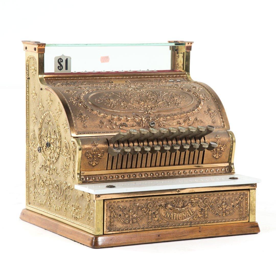 National brass wood cash register - 2