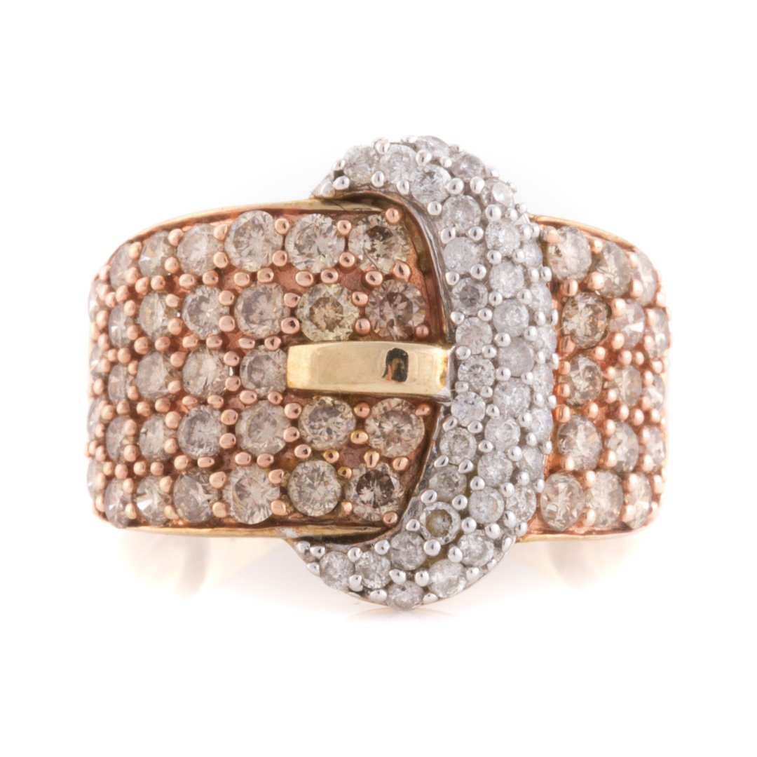 """A Pair of Diamond """"Buckle"""" Rings & 14K Gold Band - 2"""