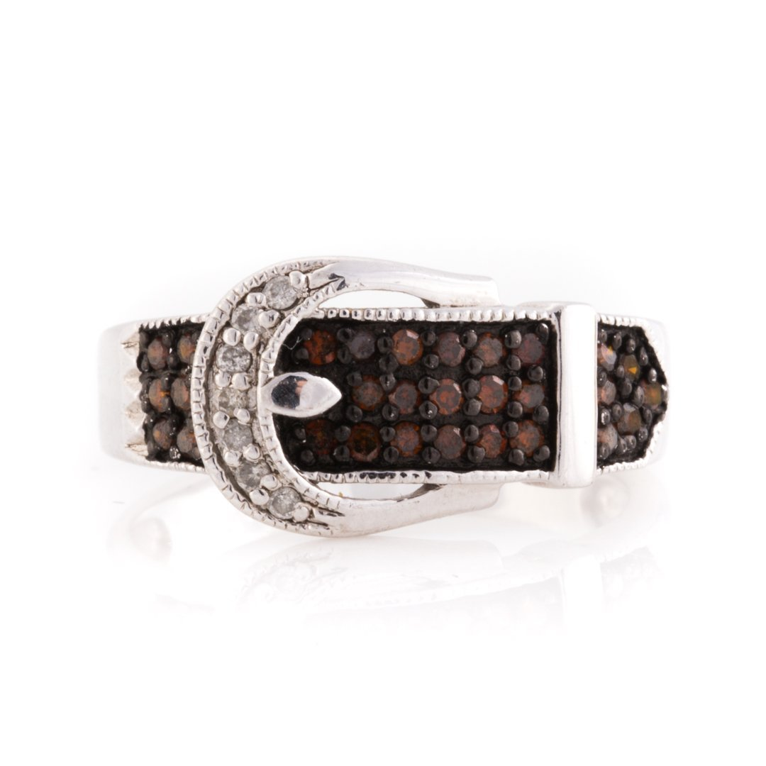 """A Pair of Diamond """"Buckle"""" Rings & 14K Gold Band - 4"""