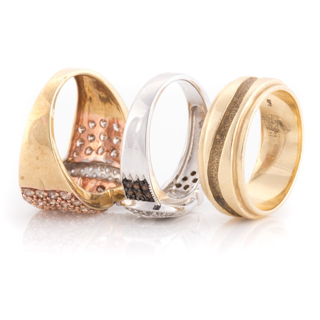 """A Pair of Diamond """"Buckle"""" Rings & 14K Gold Band - 5"""