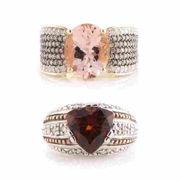 Two Lady's Gemstone Rings in 14K Gold