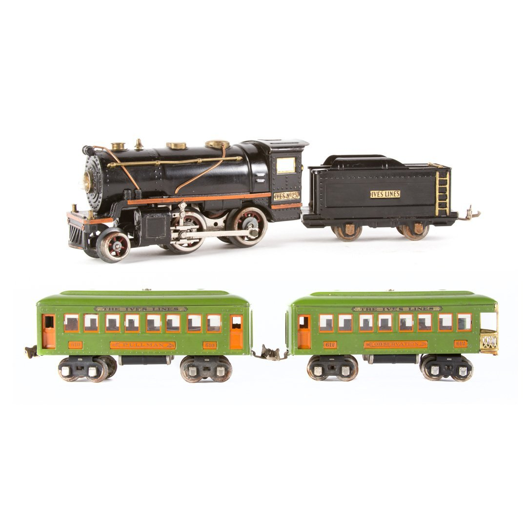 Ives O gauge #257 with 610 & 612 cars