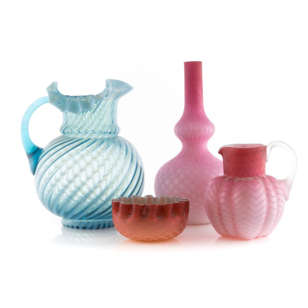 Three pieces of cased satin glass and pitcher