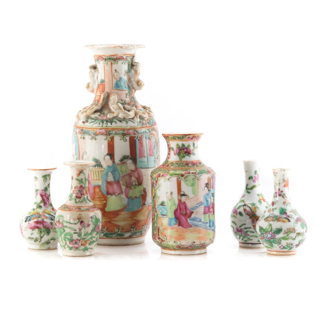 Six Chinese Export Famille Rose vases