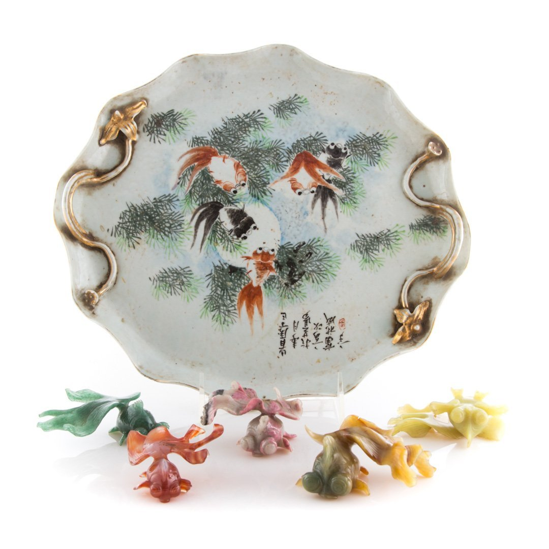 5 Chinese carved hardstone carp & porcelain tray