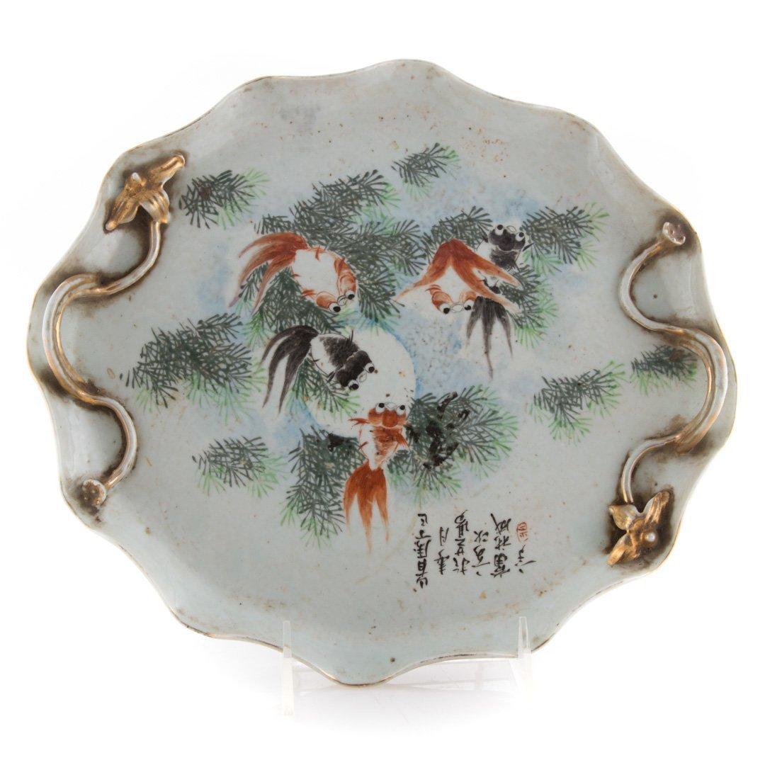 5 Chinese carved hardstone carp & porcelain tray - 2