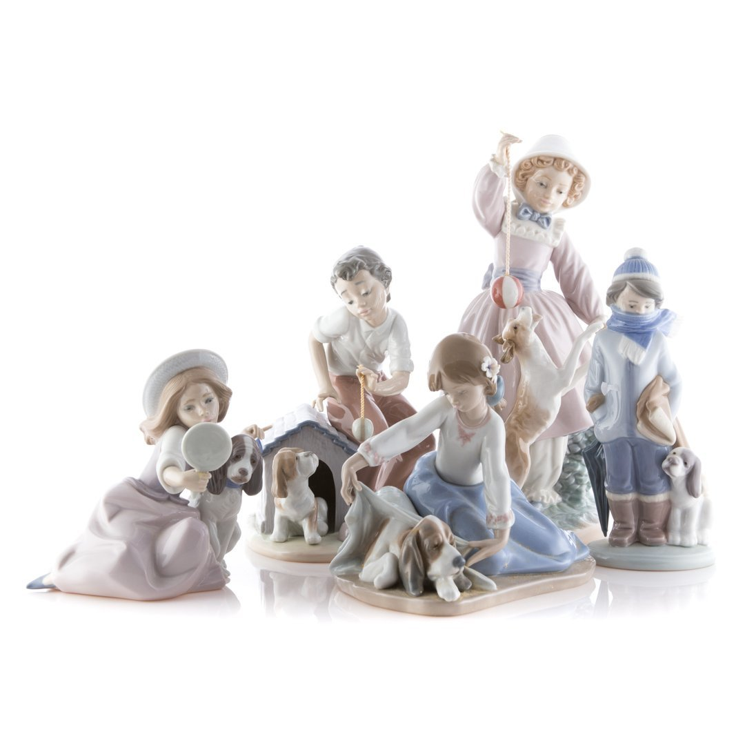 Five Lladro porcelain figures