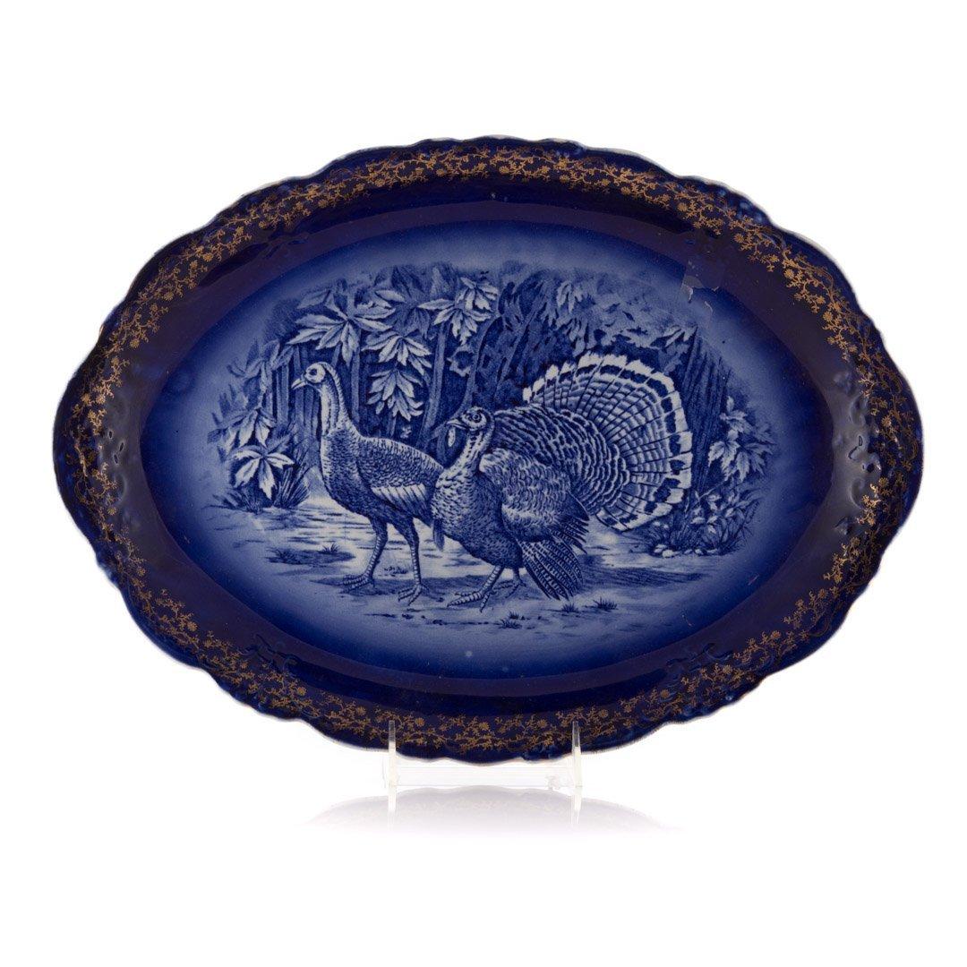 French flow blue turkey platter