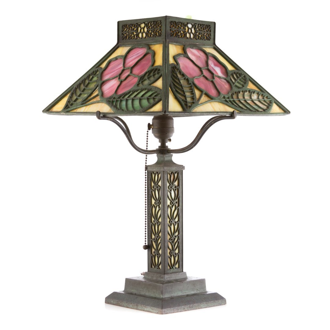 Arts and Crafts patinated metal table lamp - 2