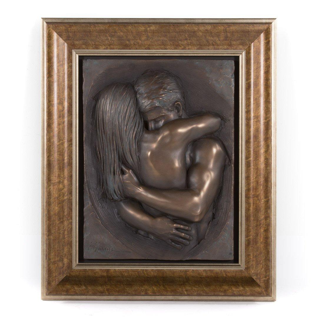 Bill Mack. Embracing Couple relief sculpture