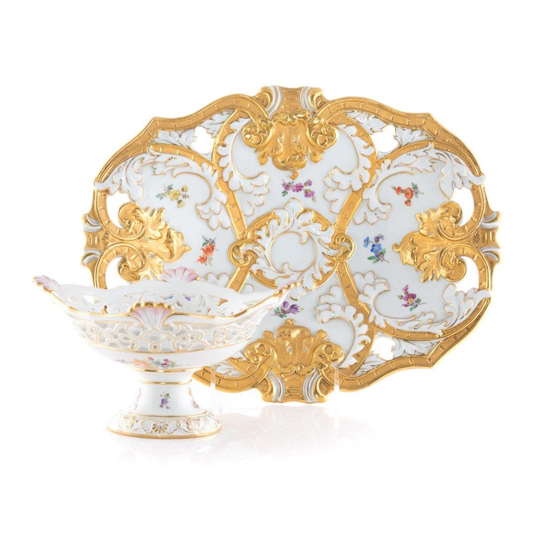 Two Meissen porcelain serving pieces