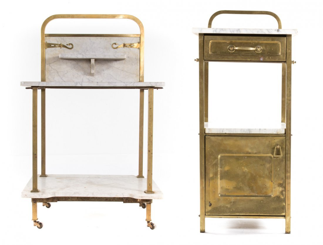 Edwardian brass & marble wash stand and side table