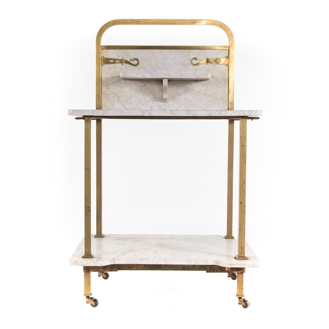 Edwardian brass & marble wash stand and side table - 2