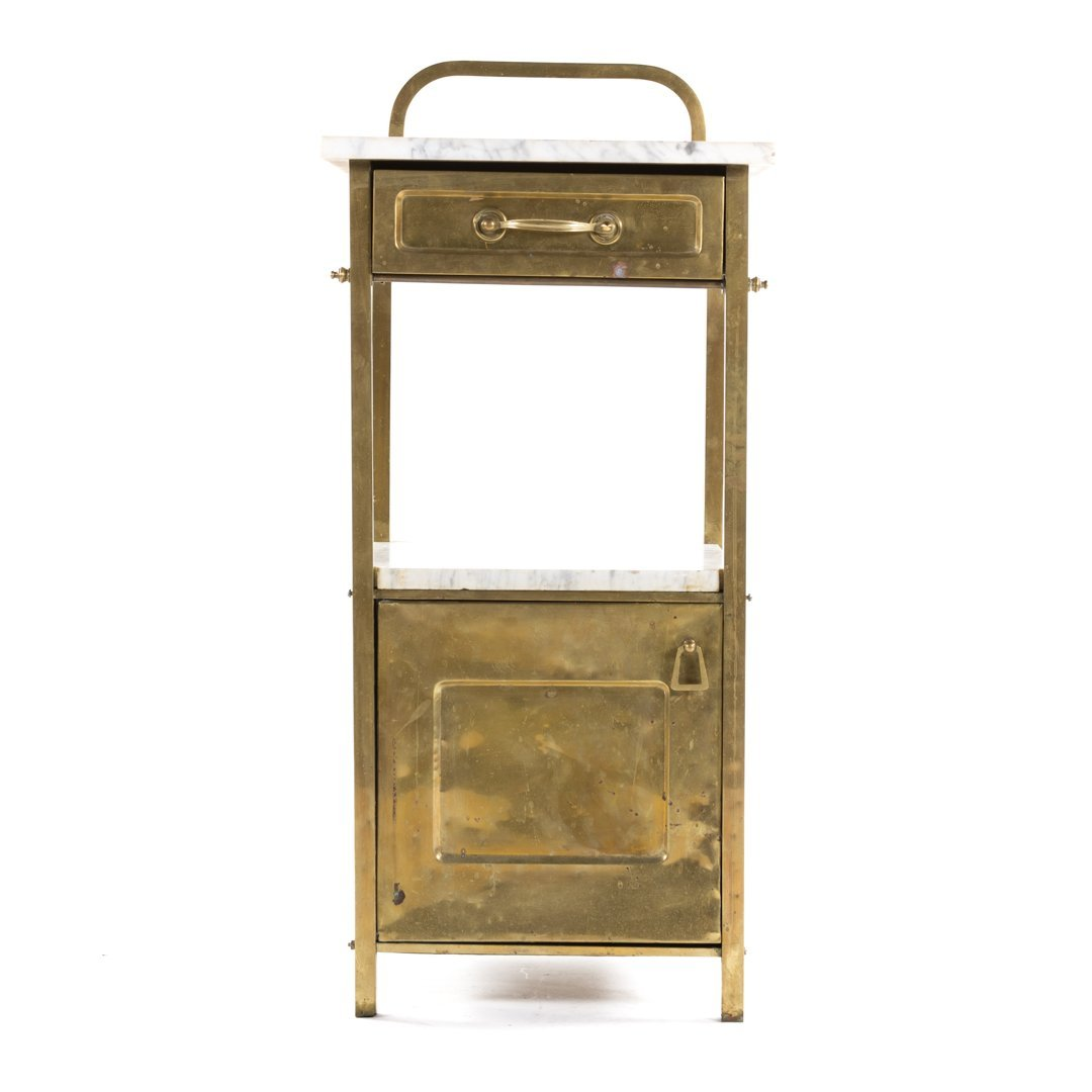 Edwardian brass & marble wash stand and side table - 3