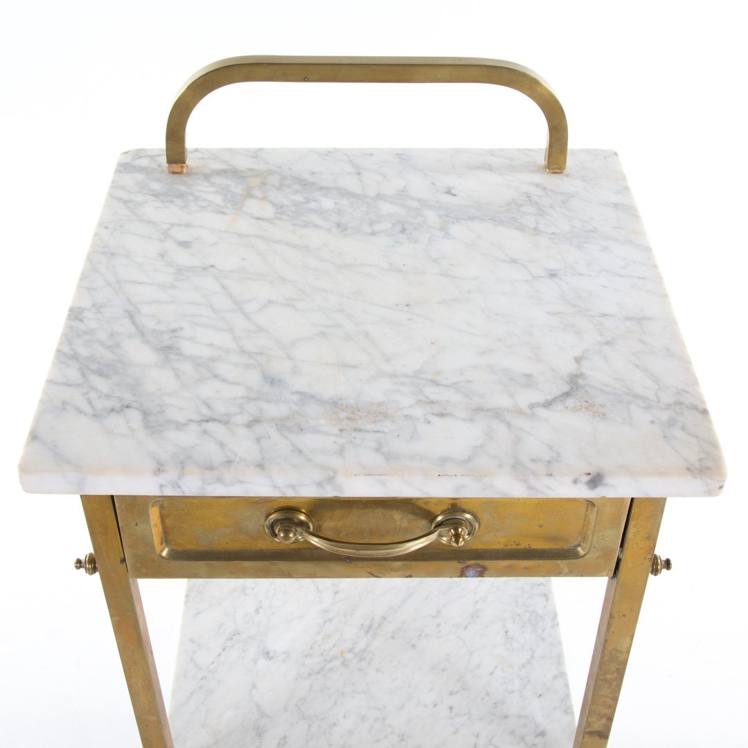 Edwardian brass & marble wash stand and side table - 4