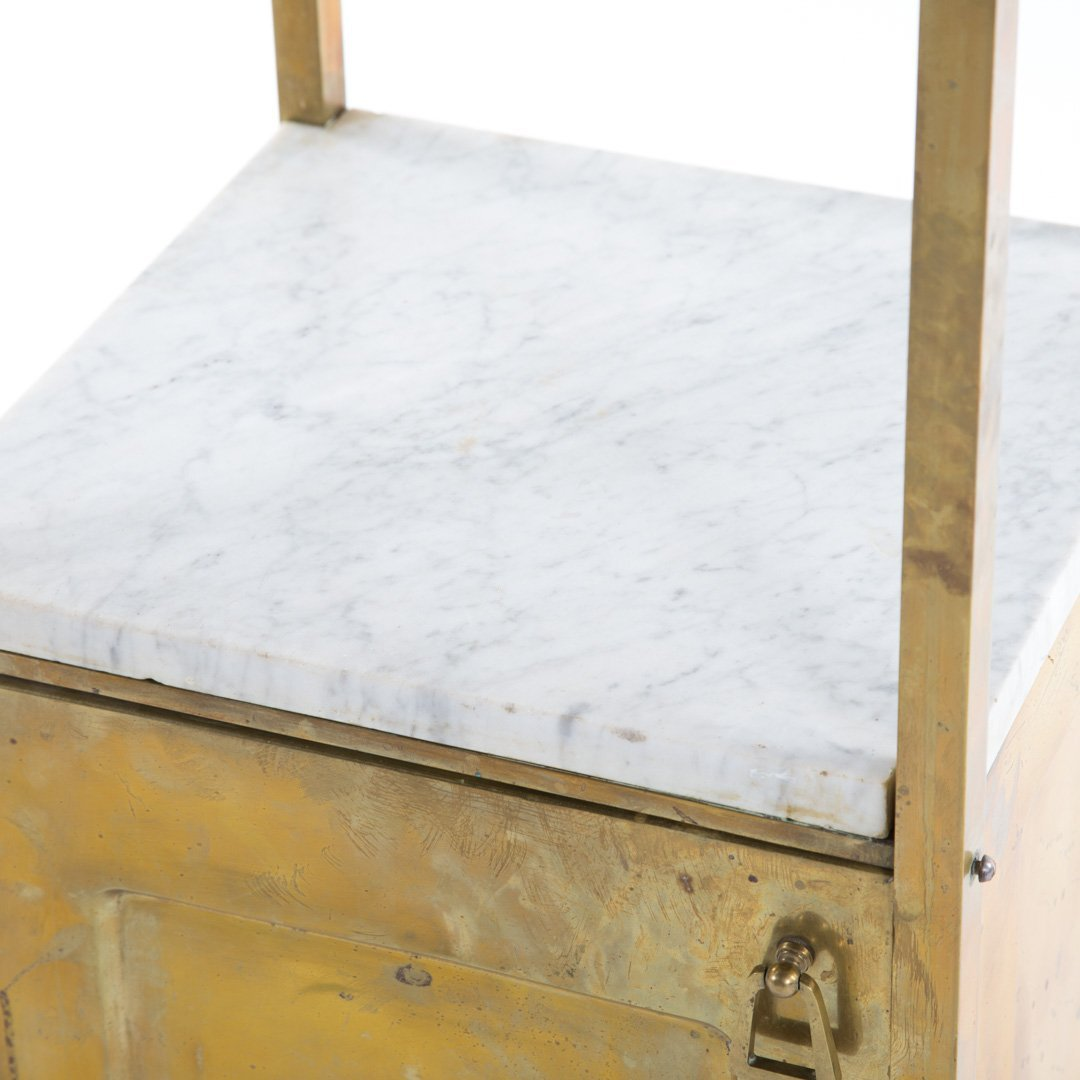 Edwardian brass & marble wash stand and side table - 6